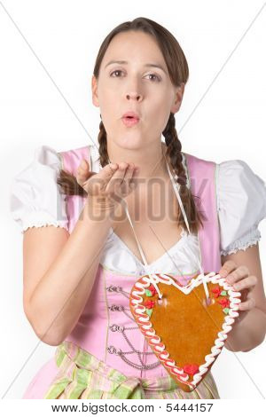 Flirty Oktoberfest Girl With Blank Herzl