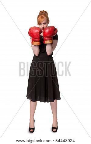 Woman In Evening Dress Wearing Boxing Glove