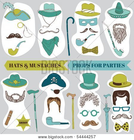Photo Booth Party set - Glasses, hats, lips, mustache, masks - in vector