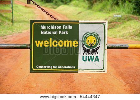 Murchison Falls National Park Entrance Gate Closeup
