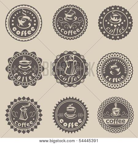 Set of nine coffee labels