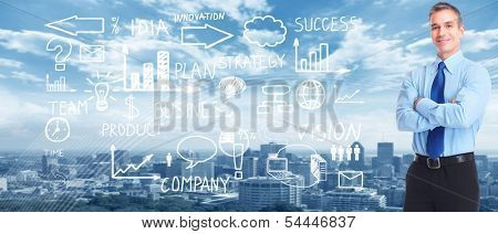 Business people banner collage background. Innovation strategy.