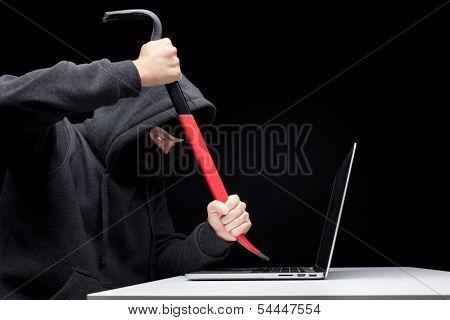 Computer hacker in a balaclava