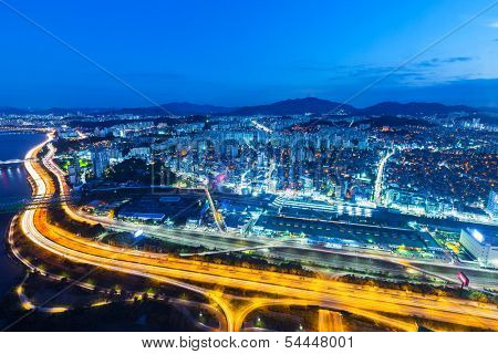 Seoul cityscape in South Korea at night