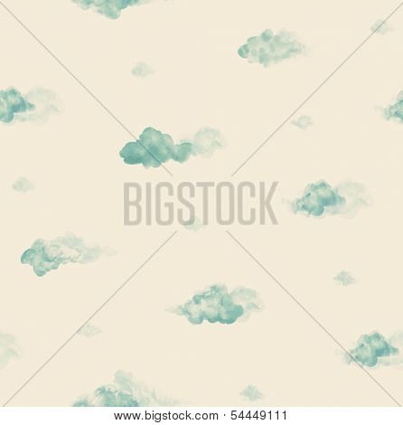 Watercolor clouds. Seamless pattern
