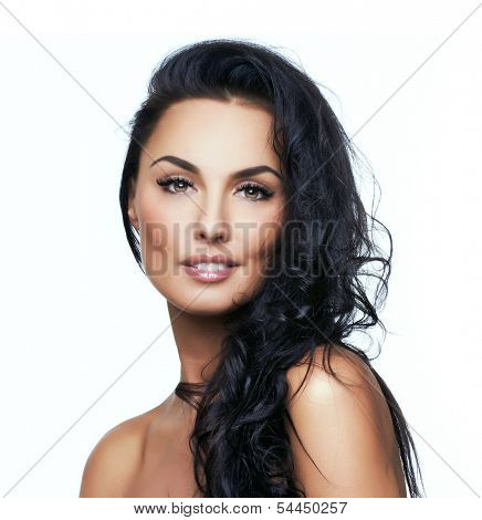 Beautiful portrait of european young woman model, on white background.  More photos of this series in my portfolio.