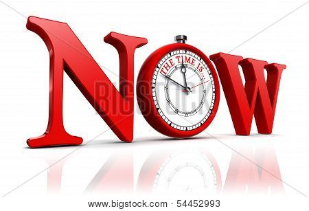Now Red Word And Clock