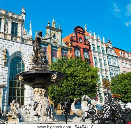 Neptune's Fountain in Gdansk, Poland
