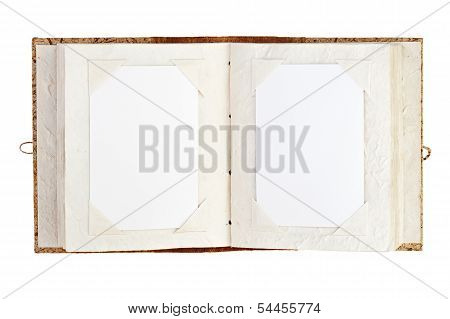 Open Old Photo Album With Place For Your Photos Isolated On White Background.