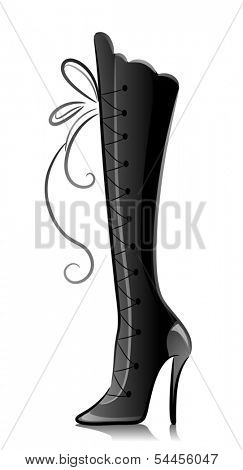 Black and White Illustration of a Knee-high Boot