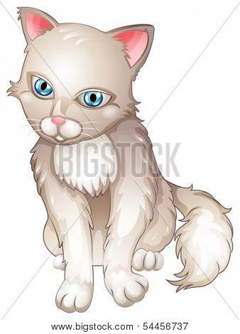 Illustration of a sad cat on a white background