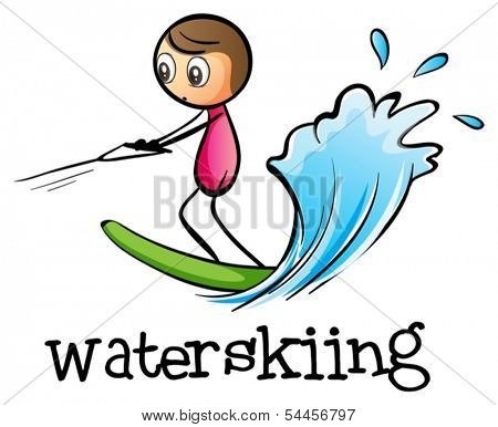 Illustration of a stick man water skiing on a white background