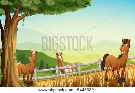 Illustration of the horses at the hill near the tree