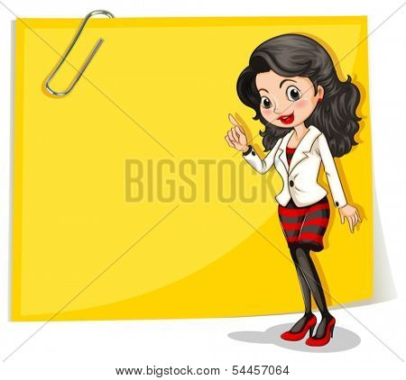 Illustration of a yellow empty signage with a businesswoman in front on a white background