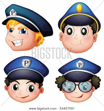 Illustration of the head of four cops on a white background