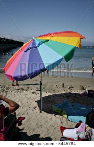Bright Multi-color Beach Umbrella