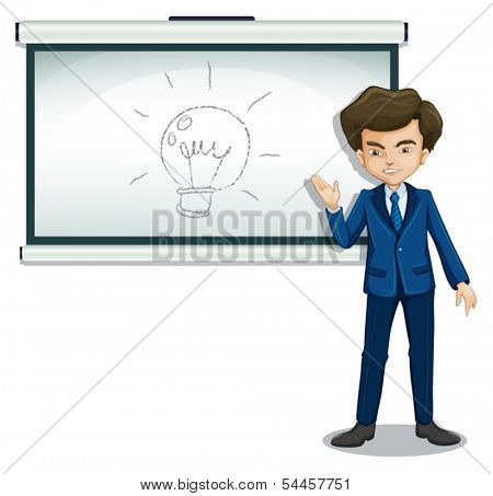 Illustration of a man in front of the bulletin board with an image on a white background
