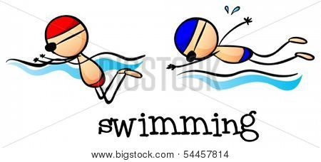 Illustration of the two boys swimming on a white background