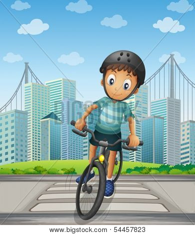 Illustration of a boy biking in the city