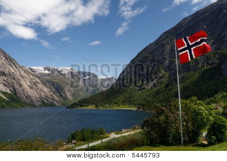 Norwegian Flag At Hardangerfjord, Norway
