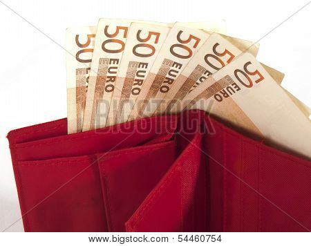 Money Purse With Euro Banknotes On White Background