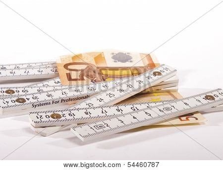 50 Euro Banknote And Carpenter's Ruler