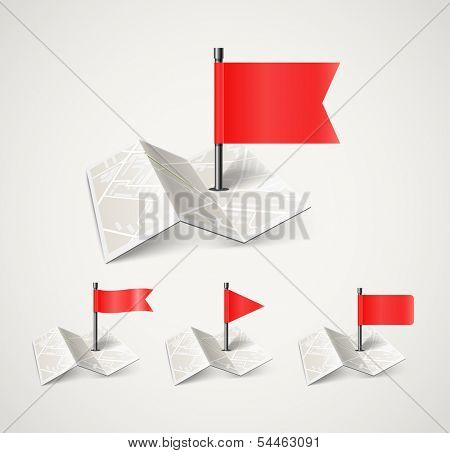 Folded abstract city map with collection of flags
