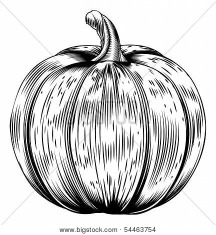 Vintage Retro Woodcut Pumpkin
