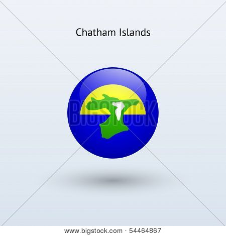 Chatham Islands round flag. Vector illustration.