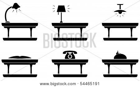 table icon for living room, food and office