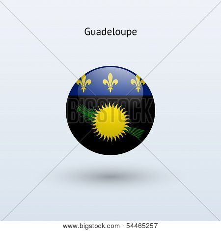 Guadeloupe round flag. Vector illustration.