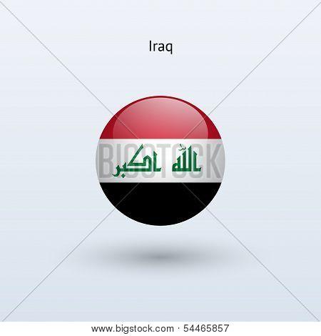 Iraq round flag. Vector illustration.