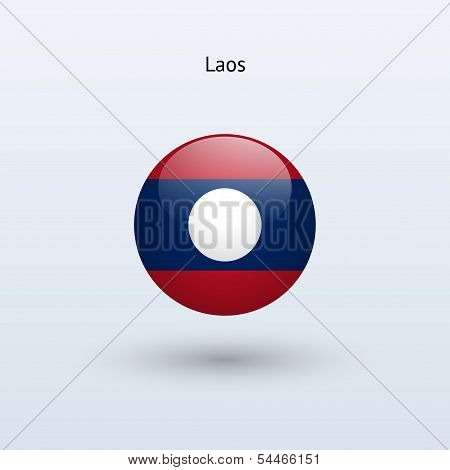 Laos round flag. Vector illustration.
