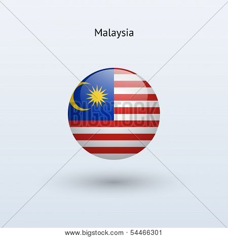Malaysia round flag. Vector illustration.