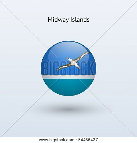 Midway Islands round flag. Vector illustration.
