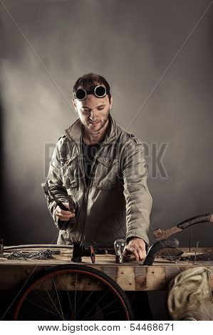 engineer working for a workbench