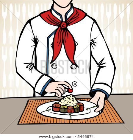 Chef preparando sushi