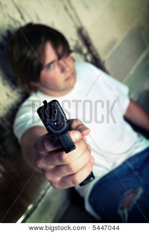 Teen Angry With Handgun