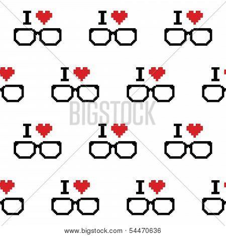 I love geeks, glasses seamless pattern
