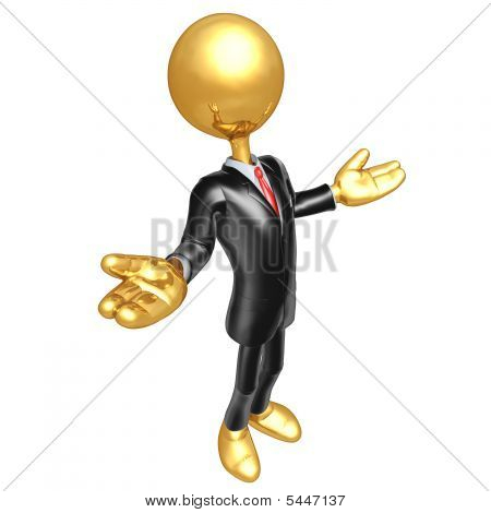 Gold Guy Businessman Character