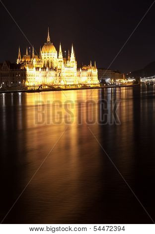 Hungarian Parliament Building As Seen From Margit Hid At Night