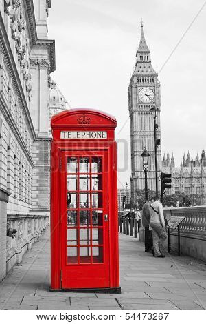Red Telephone Booth And Big Ben In London