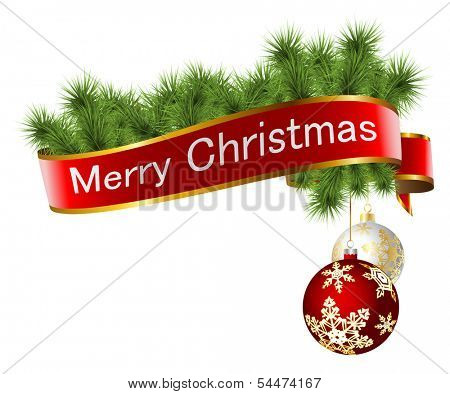 Illustration of Christmas decorations with ribbon and toys isolated on white background.