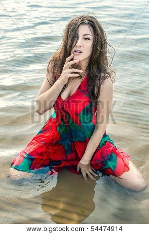 Portrait Of A Beautiful Asian In A Poppies-dress On A Background Of Water