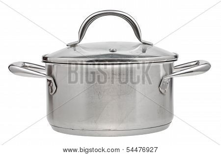 Small Stainless Steel Saucepan Covered Glass Lid