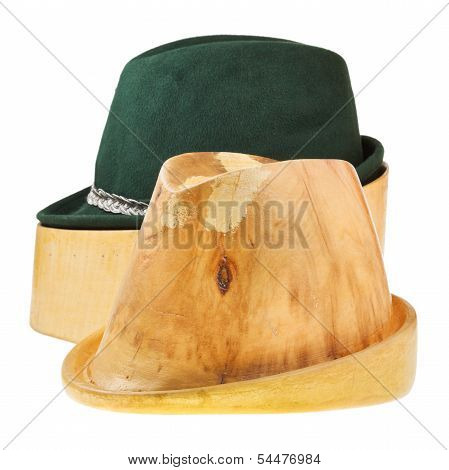 Linden Wooden Hat Block And Tyrolean Felt Hat
