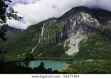 Waterfall and landslide in Briksdalen