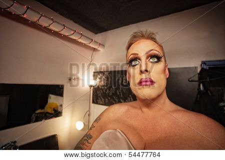 Man In Drag In Dressing Room