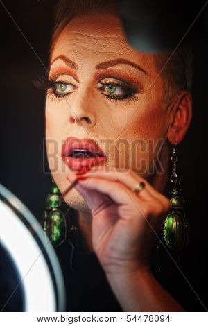 Man In Drag With Lipstick
