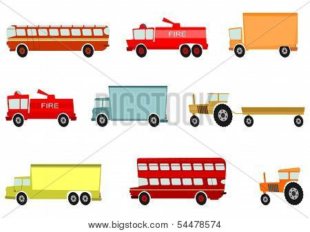 Cartoon Truck And Other Heavy Vehicles